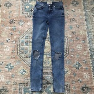 Free People Med Blue High Waist Busted Knee Jeans